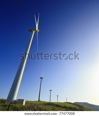 ITALY, Sicily, Catania province, countryside, Eolic energy turbines - stock photo