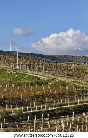 ITALY, Sicily, countryside near Agrigento, Eolic energy turbines and wineyards - stock photo