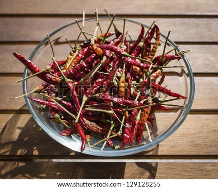 Italy, Sicily, dry sicilian red hot chili peppers in a bowl on a wooden table
