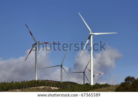ITALY, Sicily, Francofonte/Catania province, countryside, Eolic energy turbines - stock photo