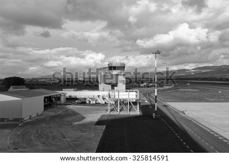 Italy, Sicily; 17 january 2014, Comiso Airport, flight control tower - EDITORIAL