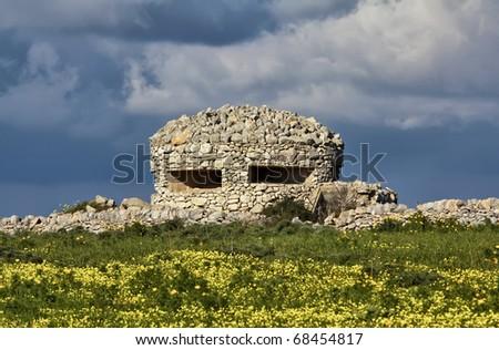 Italy, Sicily, Marina di Ragusa, countryside, second world war german bunker - stock photo