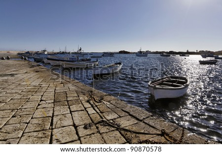 Italy, Sicily, Marzamemi (Siracusa Province), fishing boats in the port