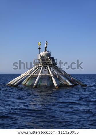 Italy, Sicily, Mediterranean sea, aquaculture nets off the coast of Portopalo di Capo Passero (Siracusa province) - stock photo