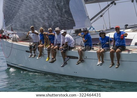 Italy, Sicily, Mediterranean Sea; 30 june 2012, sailboat crew in a race - EDITORIAL - stock photo