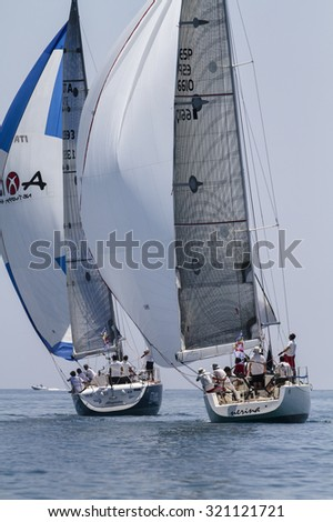 Italy, Sicily, Mediterranean Sea; 30 june 2012, sailboats race - EDITORIAL - stock photo