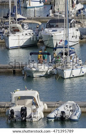 Italy, Sicily, Mediterranean sea, Marina di Ragusa; 20 August 2016, boats and luxury yachts in the port - EDITORIAL