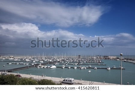 Italy, Sicily, Mediterranean sea, Marina di Ragusa, boats and luxury yachts in the port - stock photo