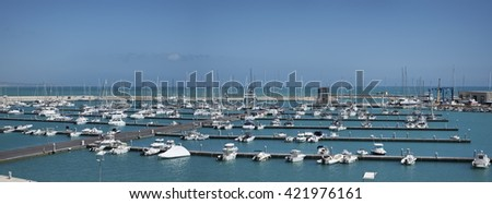 Italy, Sicily, Mediterranean sea, Marina di Ragusa; boats and luxury yachts in the port - stock photo