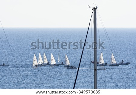 Italy, Sicily, Mediterranean sea, Marina di Ragusa; 8 December 2015, dinghy competition outside the marina - EDITORIAL