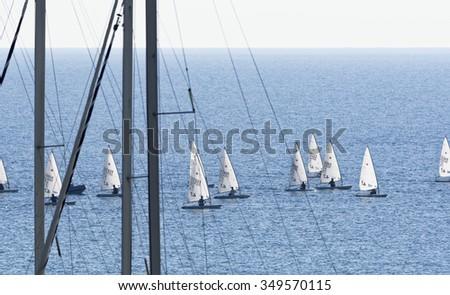 Italy, Sicily, Mediterranean sea, Marina di Ragusa; 8 December 2015, dinghy competition outside the marina - EDITORIAL - stock photo