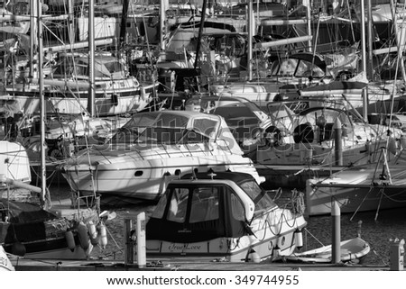 Italy, Sicily, Mediterranean sea, Marina di Ragusa; 10 December 2015, view of luxury yachts in the marina - EDITORIAL
