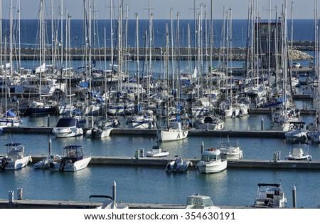 Italy, Sicily, Mediterranean sea, Marina di Ragusa; 23 December 2015, view of luxury yachts in the marina - EDITORIAL - stock photo