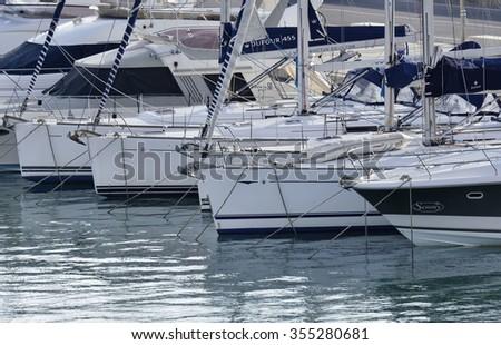 Italy, Sicily, Mediterranean sea, Marina di Ragusa; 26 December 2015, view of luxury yachts in the marina - EDITORIAL - stock photo