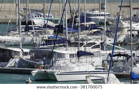 Italy, Sicily, Mediterranean sea, Marina di Ragusa; 24 February 2016, luxury yachts in the marina - EDITORIAL