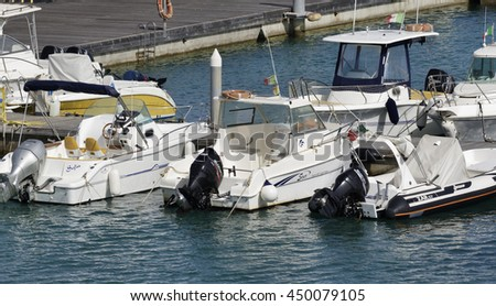 Italy, Sicily, Mediterranean sea, Marina di Ragusa; 10 July 2016, boats in the port - EDITORIAL