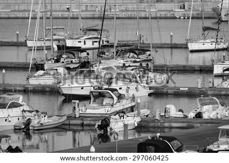 Italy, Sicily, Mediterranean sea, Marina di Ragusa; 15 july 2015, luxury yachts in the marina at sunset - EDITORIAL - stock photo