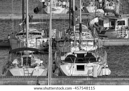Italy, Sicily, Mediterranean sea, Marina di Ragusa; 24 July 2016, luxury yachts in the port - EDITORIAL