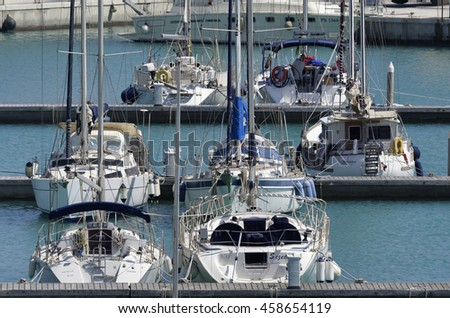 Italy, Sicily, Mediterranean sea, Marina di Ragusa; 26 July 2016, luxury yachts in the port - EDITORIAL
