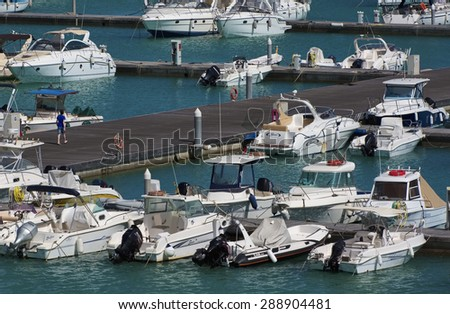 Italy, Sicily, Mediterranean sea, Marina di Ragusa; 20 june 2015, boats and luxury yachts in the marina - EDITORIAL - stock photo