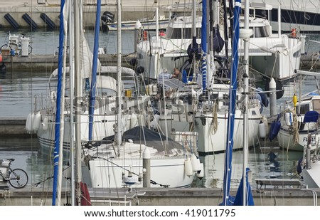 Italy, Sicily, Mediterranean sea, Marina di Ragusa; 11 May 2016, boats and luxury yachts in the port - EDITORIAL