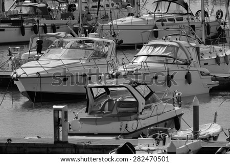 Italy, Sicily, Mediterranean sea, Marina di Ragusa; 29 may 2015, luxury yachts in the marina - EDITORIAL