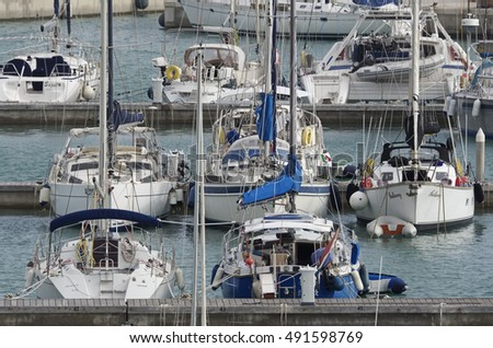 Italy, Sicily, Mediterranean sea, Marina di Ragusa; 1 October 2016, luxury yachts in the port - EDITORIAL