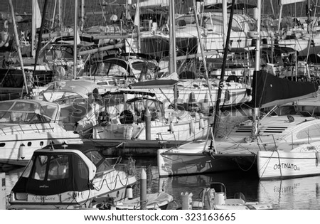 Italy, Sicily, Mediterranean sea, Marina di Ragusa; 2 october 2015, view of luxury yachts in the marina - EDITORIAL