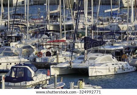 Italy, Sicily, Mediterranean sea, Marina di Ragusa; 7 october 2015, view of luxury yachts in the marina - EDITORIAL - stock photo