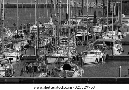 Italy, Sicily, Mediterranean sea, Marina di Ragusa; 8 october 2015, view of luxury yachts in the marina - EDITORIAL