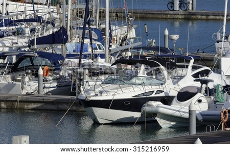 Italy, Sicily, Mediterranean sea, Marina di Ragusa; 9 september 2015, view of luxury yachts in the marina -