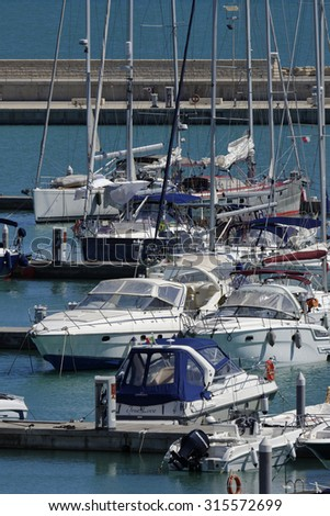 Italy, Sicily, Mediterranean sea, Marina di Ragusa; 11 september 2015, view of luxury yachts in the marina - EDITORIAL