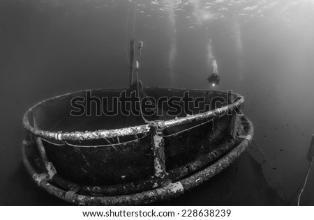 Italy, Sicily, Mediterranean sea, Ponza Island, aquaculture nets off the coast of the island - FILM SCAN - stock photo