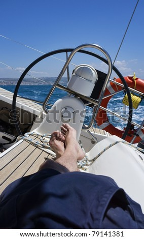 Italy, Sicily, Mediterranean sea, sicilian South-Eastern coast, cruising on a sailing boat - stock photo