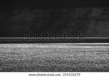 Italy, Sicily, Mediterranean sea, stormy clouds on the Sicily Channel in winter - stock photo