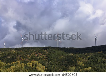 ITALY, Sicily, Nebrodi mountains, Eolic energy turbines - stock photo
