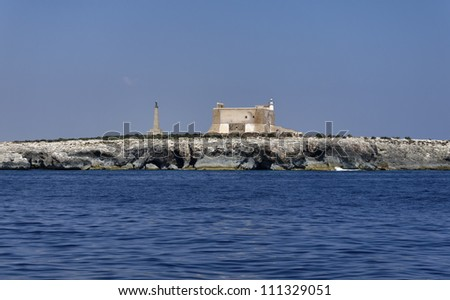 Italy, Sicily, Portopalo di Capo Passero (Siracusa Province), panoramic view of the Capo Passero island and its ancient spanish fort