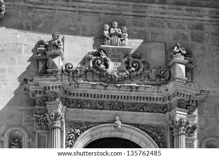 Italy, Sicily, Ragusa Ibla, the baroque facade of the Anime Sante Del Purgatorio Church (18th century)