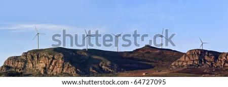 ITALY, Sicily, Sicani mounts, Eolic energy turbines - stock photo