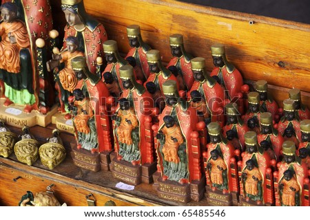 Italy, Sicily, Tindari, religious statues of a Black Madonna for sale in a shop near the St. Mary Sanctuary - stock photo