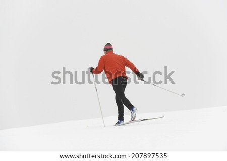 Italy, South Tyrol, man cross-country skiing, rear view - stock photo