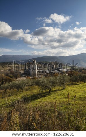 Italy, Spoleto, cement factory in the countryside