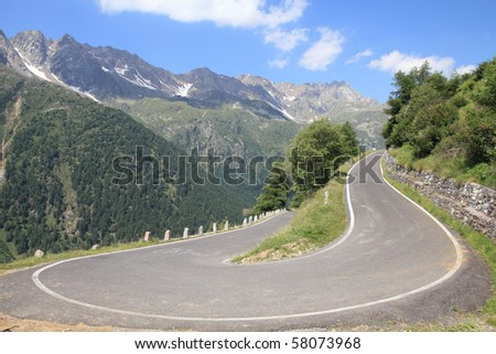 Italy, Stelvio National Park. Famous road to Gavia Pass in Ortler Alps. Alpine landscape.
