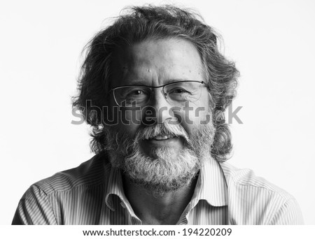 Italy, studio portrait of a bearded middle aged man