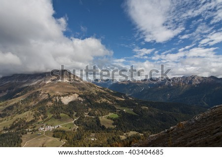 Italy, the Dolomites  are a mountain range located in northeastern Italy. - stock photo