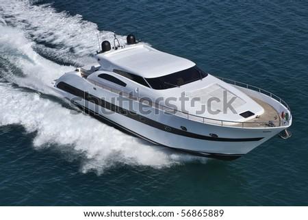 Italy, Tirrenian sea, off the coast of Viareggio, Tecnomar Velvet 90' luxury yacht, aerial view - stock photo