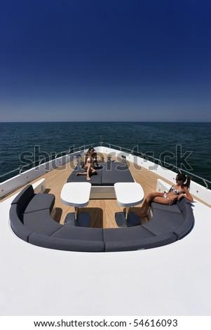 Italy, Tirrenian sea, off the coast of Viareggio, Tuscany, luxury yacht 36 (36 meters) - stock photo