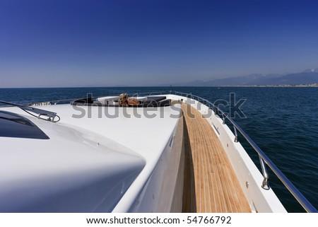 Italy, Tirrenian sea, off the coast of Viareggio, Tuscany, luxury yacht Tecnomar 36 (36 meters) - stock photo