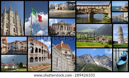 Italy tourism attractions - travel photo collage with Rome, Venice, Florence, Milan, Pisa, Sicily and Italian Alps. - stock photo