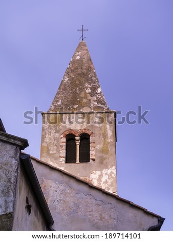 italy, tuscany, Capalbio (Grosseto), cathedral's bell tower - stock photo